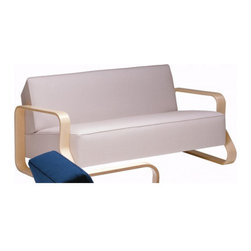 """Artek - 544 Sofa - Features: -Arm chair.-Natural lacquered birch armrests.-Seat with rubber belts, PU foam and Dacron.-Back with PU foam and Dacron.-Designed in 1932.-25.6"""" H x 155.9"""" W x 33.5"""" D, 79.4 lbs.-Distressed: No.-Country of Manufacture: Finland.-Frame Finish: Natural birch.-Powder Coated Finish: No.-Gloss Finish: No.-Frame Material: Wood.-Solid Wood Construction: No.-Number of Items Included: 1.-Water Resistant: No.-Fire Resistant: No.-Scratch Resistant: No.-Stain Resistant: No.-Mildew Resistant: No.-Fade Resistant: No.-Tear Resistant: No.-Coils or Springs: Yes -Seat Spring Type: Rubber belts.-Eight-Way Hand Tied: Yes..-Style: Modern.-Removable Seat Cushions: No.-Removable Back Cushions: No.-Removable Cushion Cover: No.-Reversible Cushions: No.-Cushion or Upholstery Fill Material: Polyester.-Foam Density: 1.9.-Welt on Cushions: No.-Tufted Cushions: No.-Rocker: No.-Massage: No.-Reclines: No.-Legs Included: Yes -Removable Legs: No.-Leg Material: Wood.-Leg Glides: No..-Adjustable Headrest: No.-Nailhead Trim: No.-Cupholders: No.-Skirted: No.-Toss Pillows Included: No.-Back Style: Tight back.-Slipcovered: No.-Storage: Yes.-Console Included: No.-Seating Comfort: Firm.-Outdoor Use: No.-Seating Capacity: 2.-Swatch Available: Yes.-Application: Both Commercial and Residential.-Recycled Content: No.-Eco-Friendly: No.Specifications: -FSC Certified: No.-CARB Compliant: No.-ISTA 3A Certified: No.-Green Guard Certified: No.-SFI Certified: No.-ITTO Compliant: No.-Lacey Act Compliant: No.Dimensions: -Overall Product Weight: 79.4.-Overall Height - Top to Bottom: 25.6.-Overall Width - Side to Side: 155.9.-Overall Depth - Front to Back: 33.5.-Seat Height - Top to Bottom: 25.6.-Seat Depth - Front to Back: 21.7.-Arms: -Arm Height - Top to Bottom: 20.5.-Arm Width - Side to Side: 3..-Clearance from Floor to Bottom of Sofa: 6.3.-Legs: -Leg Height - Top to Bottom: 6.3.-Leg Width - Side to Side: 3.-Leg Depth - Front to Back: 0.7..-Seat Cushion: -Seat Cushion Thickness: 9.5.-Seat Cus"""