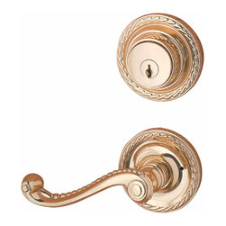 "Renovators Supply - Door Locks Bright Solid Brass Roped Lever Handles Door Lock Set | 20963 - Solid brass with authentic period details. Privacy roped levers entrance set has 2 1/2"" diameter backplate. Measures 4"" long with a 2"" projection. It has a 2 3/8"" backset. It comes with a turnkey on the inside of the deadbolt."