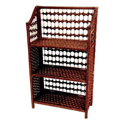 """Oriental Furniture - 33"""" Natural Fiber Shelving Unit - Mahogany - This practical small shelf unit is a great design for displaying books, framed photographs, small sculptures and collections, sized for a bed room, dorm room, or bath. Well crafted from light weight wood frames with woven spun plant fiber cord, the color is vivid and appealing. The spun fiber is interwoven with ¼"""" wood dowel, to create an extra sturdy, rattan style design. Modern American home decor is best when it is sturdy, portable, practical, and beautiful. Note that the shelves can be unhooked from the side panels to collapse the unit for shipping and storage."""