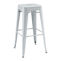 Modway - Modway EEI-269 Gathering Bar Stool in Gray - Together we can accomplish what each of us alone cannot. Gathering reminds us of our collective surge of ambition to solve individual disorder. From its electric-plated metal finish, to its overall fluid notion of design, Gathering is not something you can simply present as is. While today's world of commercialism likes to pigeonhole products by category, Gathering is a unique stool that defies classification.