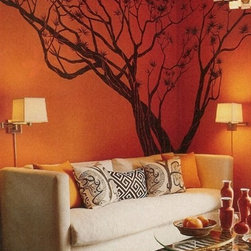 WALLTAT - Japanese Maple Tree Wall Decal, As-Is - Japanese Maple Tree wall decal (seen in Cosmopolitan Magazine's May 2011 Issue) featured intricate branches and twisting limbs contoured by zebra bark.  Available on Houzz in Size D Chocolate Branches with Dark Red Blossoms in As-Is Orientation (extending left) or Reverse Orientation (extending right)..  Five unique shapes of leaves come in a package totaling 60 leaves to serve as stunning accents to this bonsai style tree.  First install the tree, and then apply the leaves as the finishing touch.  The subtle matte finish of the vinyl will compliment your existing color for a custom designer look.  Transform your walls into interesting landscapes in minutes with Wall Decals.   Made in the USA.