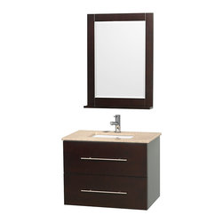 Wyndham Collection - Centra Bathroom Vanity in Espresso, White Ivory Top, Sq Porcelain UM Sink - Simplicity and elegance combine in the perfect lines of the Centra vanity by the Wyndham Collection. If cutting-edge contemporary design is your style then the Centra vanity is for you - modern, chic and built to last a lifetime. Available with green glass, pure white man-made stone, ivory marble or white carrera marble counters, and featuring soft close door hinges and drawer glides, you'll never hear a noisy door again! The Centra comes with porcelain sinks and matching mirrors. Meticulously finished with brushed chrome hardware, the attention to detail on this beautiful vanity is second to none.