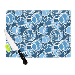 """Kess InHouse - Julia Grifol """"Simple Circles in Blue"""" Cutting Board (11.5"""" x 15.75"""") - These sturdy tempered glass cutting boards will make everything you chop look like a Dutch painting. Perfect the art of cooking with your KESS InHouse unique art cutting board. Go for patterns or painted, either way this non-skid, dishwasher safe cutting board is perfect for preparing any artistic dinner or serving. Cut, chop, serve or frame, all of these unique cutting boards are gorgeous."""