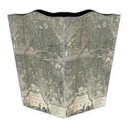 Marye-Kelley - Paris Antique Map Wastebasket - Paris Antique Map Wastebasket