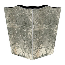 Marye-Kelley - Paris Antique Map Wastebasket - Paris Antique Map Wastebasket