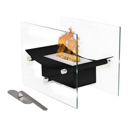 Moda Flame - Moda Flame Cavo Table Top Ventless Bio Ethanol Fireplace in Black - Elevate the heart and uplift the mind with a liberated Cavo ventless bio ethanol fireplace. The modern arched fireplace with two glass supports gives perception of floating fire. Its sophisticated yet elegant, with all the benefits of a bio ethanol fireplace has to offer. Perfect present for anyone as it is ventless, clean burning and no installation required. The Cavo ventless fireplace is light weight and can be used outdoors and indoor.