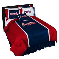 Store51 LLC - MLB Atlanta Braves Comforter Pillowcase Baseball Bedding, Queen - Features: