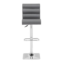 Zuo Modern - Barstool with Padded Roll Seat - Adjustable height. Chrome base. Footrest and wrapped seat. Warranty: One year limited. Made from chromed steel and leatherette. Gray color. Assembly required. Seat depth: 13.8 in.. Seat height: 27 in. - 35.4 in.. Overall: 17.7 in. W x 15.3 in. D x 38.6 in. - 46.9 in. H (20.68 lbs.)
