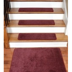 """Dean Flooring Company - Dean Premium Wool Carpet Stair Treads - Madison Bordeaux (13) 30""""x9"""" & Mat - Dean Premium New Zealand Wool Carpet Stair Treads - Madison Bordeaux (13) 30"""" x 9"""" Plus a Matching 2' x 3' Landing Mat : Premium Wool Carpet Stair Treads by Dean Flooring Company. Color: Madison Bordeaux Material: 70% New Zealand Wool and 30% Olefin. Face Weight: 56 oz. Edges: Finished (serged) with attractive color matching yarn. Size: Approximately 30"""" x 9"""". Set includes 13 stair treads plus a matching 2' x3' landing mat.  Easy to spot clean and vacuum. Helps prevent slips on your hardwood stairs. Great for helping your dog easily navigate your slippery staircase. Reduces noise. Reduces wear and tear on your hardwood stairs. Attractive: adds a fresh new look to your staircase. Easy DIY installation with double sided carpet tape or (not included - sold separately). WOOL is the traditional fiber used to make rugs, and it's no big mystery why. Besides being luxurious to the touch, wool can be dyed to beautiful rich colors, is fire-resistant, stain resistant, non-allergenic and holds up well over time. Also, wool is biodegradable and a renewable resource, making it a green choice as well as an elegant one. Add a touch of warmth and style to your home today with stair treads from Dean Flooring Company!"""