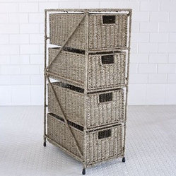 Sasha Seagrass 4-Drawer Tower