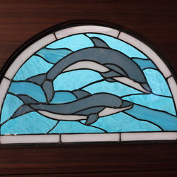 The Dolphin Entry - Zoleta Lee Designs/MendocinoStainedglass.com   A beautiful mixture of textures and colors were used in this window to create a custom window for the client.