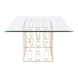 Worlds Away - Worlds Away Jackson Silver Leaf Square Dining Table - An open rectangle formation provides the Worlds Away Jackson dining table geometric appeal. Topped with square glass, the contemporary silver furnishing shimmers for sophisticated glamour. Made from iron; Silver leaf finish; Beveled glass top in two sizes