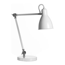 Industrial Task Table Lamp, White - Bring a little industrial style into your office with a classic, crisp white task lamp.