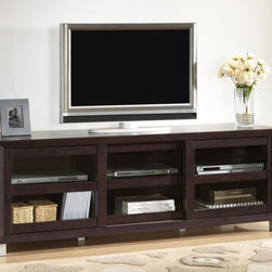 Baxton Studio - Pacini Dark Brown TV Cabinet - Modernize your entertainment area with this dark brown TV cabinet. Featuring three tempered glass sliding doors,an engineered wood frame,and rear cable holes for easy management,this TV cabinet is built for both style and convenience.
