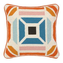 "Peking Handicraft Inc. - Trina Turk Novato NP Pillow Blue/Orange DF 12""""x12"""""" - ""12X12"""" 100% WOOL & COTTON"""
