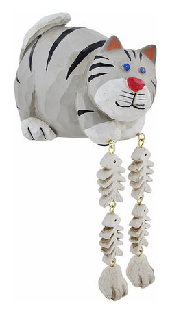 Zeckos - Cute Gray Cat Dangler Shelf Sitter - Add a unique accent to any shelf or desk in your home or office with this darling dangler. It features a cat with its catch of the day, and measures 4 inches tall, 5 inches long, and 3 3/4 inches wide. It is made of cold cast resin, hand painted, and finished to look as though it has been carved from wood. This piece is a great gift for feline fanatics, and is sure to start a conversation.