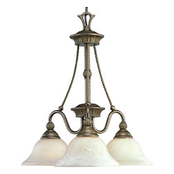 Progress Lighting - Progress Lighting P4007-86 3-Light Chandelier with Antique Alabaster Glass - Progress Lighting P4007-86 3-Light Chandelier with Antique Alabaster Glass