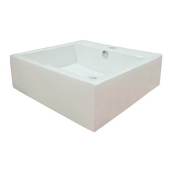 Kingston Brass - White China Vessel Bathroom Sink with Overflow Hole and Faucet Hole - This vessel countertop wash basin stands tall with its 6 1/4in. high deck shaped in a large square covering 18in. around all four sides. Constructed with vitreous china material, the interior basin is expanded 4 1/4in. inward with a rear-side overflow hole and a single-hole drilling on the faucet deck.