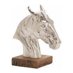 """Arteriors - Arteriors Home - Leighton Sculpture - 6509 - Polished nickel horse sculpture in cast aluminum on natural wooden base. Features: Leighton Collection Sculpture Polished nickel Finish Some Assembly Required. Dimensions: W 6"""" x D 11"""" x H 12"""""""