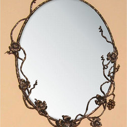 Vineyard Frame with Mirror - This iron mirror has vineyard and grape themed details that will give your bathroom a natural and unique style.