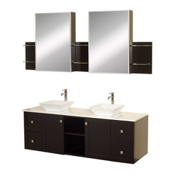 "Wyndham - Avara 60"" Wall-Mounted Double Bathroom Vanity Set - Espresso - Make a statement with the Avara double vanity, and add a twist of the transitional to an otherwise modern classic.; The Avara is the perfect centerpiece to any master bathroom suite, featuring Blum soft close hinges and Blum soft close drawer guides. You'll never hear a door or drawer slam shut again!; Espresso Finish; Counter: White Stone; Includes white porcelain sink; Includes drain assemblies and P-traps for easy assembly; Includes medicine cabinet mirrors and side shelves; Faucets not included; Dimensions: Vanity 60 x 22-1/4 x 24.5 (including sink); Side Shelves 8-3/4 x 5 x 12; Medic Cab Mirrors 18 x 5-3/4 x 30"
