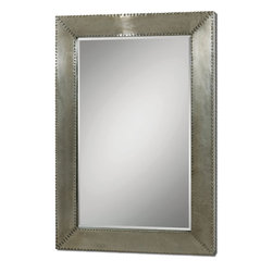 """Uttermost - Uttermost Rashane Rectangular Mirror w/ Silver-Champagne Aluminum Frame - Rectangular Mirror w/ Silver-Champagne Aluminum Frame belongs to Rashane Collection by Uttermost Lightly stained, silver-champagne aluminum frame with decorative nail head trim. Mirror features a generous 1 1/4"""" bevel. May be hung horizontal or vertical. Shown with item #24290. Mirror (1)"""