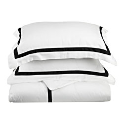 "Hotel Collection 300 Thread Count Cotton White/Black Standard Pillowcase Set - A hotel luxury way to decorate your bedroom with a 300 Thread Count Pillowcase Set. The perfect complement to a guest bedroom or master suite! These 300 thread count pillowcases of premium long-staple cotton are ""sateen"" because they are woven to display a lustrous sheen that resembles satin. Coordinate with our Hotel Collection Duvet Cover Sets and Bed-skirts! Set includes Two Pillowcases 20x30 each."