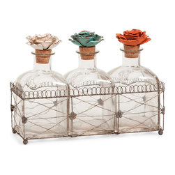 Harvey Glass Bottles with Floral Stoppers and Tray - *While these glass bottles in a wire tray emit beauty, the fantastic metal rose finials help to create this elegant set of decorative bottles.