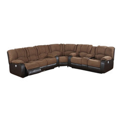 """AC Pacific - 3 pc 2 tone Jagger mocha microfiber and leather like upholstered sectional - 3 pc 2 tone Jagger mocha microfiber and leather like upholstered sectional sofa with power motion recliners. This set features the sofa with power motion recliners and love seat with center console with power motion recliners and corner wedge. sofa measures 84"""" x 39"""" x 40"""" H, love seat measures 74"""" x 39"""" x 40"""" H, Corner wedge measures 71"""" x 39"""" x 40"""" .  Some assembly required."""