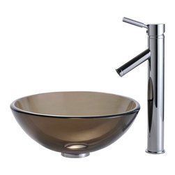 "Kraus - Kraus C-GV-103-14-12mm-1002CH Clear Brown 14"" Glass Vessel Sink & Sheven Faucet - Add a touch of elegance to your bathroom with a glass sink combo from Kraus"