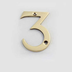 Cool House Numbers Solid Brass 3 Inch (75mm) Door Number 3 #2273 - SOLID BRASS 3 INCH (75MM) DOOR NUMBER 3 #2273