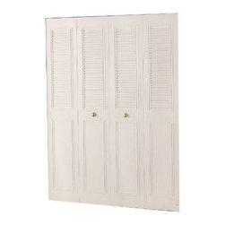 "DUNBARTON CORPORATION - 36 x 80 4-Panel Classic Metal Bifold - Slim fold - (Non-Handed) Ivory. Baked Enamel. 24 Gauge Steel. Complete Track and hardware included. The ""Classic"" 4 Panel Half-Louvered Style. Finished opening size: 36"" x 80"". Actual door size: 35-1/2"" x 78-1/2""."