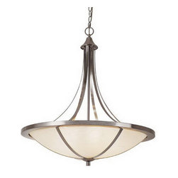 Brushed Nickel And White Frosted Glass 6 Light Chandelier/Pendant - Condition: New - in box