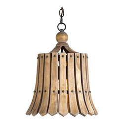Kathy Kuo Home - Vintage Style Frutier Wood Slat Bell Pendant Light - Drawing references from vintage and French Country lighting, the aged look of natural ash wood has been crafted into a bell shaped pendant light that evokes an honest simplicity also found in rustic farmhouse style.  A single bulb brings the wooden slats to life, casting stripes on nearby walls, proving simplicity can indeed be beautiful.