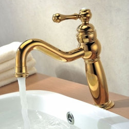 JollyHome - JollyHome Golden Finished Deck Mounted Vessel Sink Faucet - Easy to install.Easy-to-operate handles.Drip free ceramic spool for a long time operation.Constructed from solid brass for durability and reliability