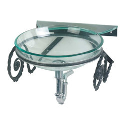 Renovators Supply - Glass Sinks Clear Glass Sink Wall Mount - Glass Sinks: The South Beach wall mount tempered glass vessel sink comes with wrought iron wall supports. See site for detailed product measurements and information. Accepts single hole faucet, not included.
