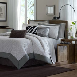 E & E Co., Ltd. - Sasha 7-Piece Jacquard Comforter Set - A zebra print gets a tamer, more modern style with this beautiful gray bedding. A light gray tone on tone zebra pattern is outlined with a darker gray solid borer.