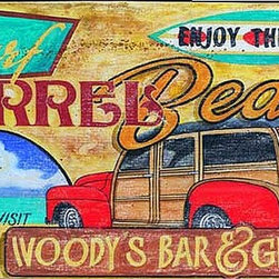 Red Horse Signs - Vintage Beach Signs Woody Surf   Large - Kick  back  and  enjoy  the  fun  as  family  and  friends  check  out  your  new  Woody  Surf  sign  that  has  the  name  of  your  favorite  beach  and  bar  personalized  right  in  the  design!  Measuring  20x32  inches  this  vintage  sign  is  printed  directly  to  distressed  wood  for  a  special  timeworn  look  that's  just  right  for  patio  beach  house  or  rec  room.