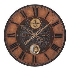 """UTTERMOST - Simpson Starkey 23"""" Wall Clock - Dark, rich tones, elegant hour and minute hands accented by an aged brass reproduction of an antique clock mechanism combine to make the Simpson Starkey clock as much a piece of art as a way to tell the time of day.   From Uttermost's Timeworks Collection, the Simpson Starkey wall clock features:"""