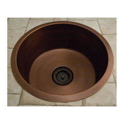 """18"""" Portia Copper Drum Sink - Made from solid copper, this round copper sink has a flat bottom and gently sloping sides. Pair two of these drum sinks side by side for a most beautiful kitchen setup."""