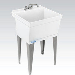 Mustee - Mustee Utilatub 15W Single Basin Wall Mount Utility Sink Multicolor - 15W - Shop for Commercial Laundry and Utility from Hayneedle.com! You can wash your dog at home or you can wash someone else's dog at work (providing your job is a dog groomer) in the Mustee Utilatub 15W Single Basin Wall Mount Utility Sink. This deep 19-gallon utility sink is crafted from a single peice of Mustee's priopietary thermo-plastic resin that's got a smooth surface that's easy to clean and ready for anything. A built-in scrub board and an integrated drip tray help you get the job done while all that messy business stays safely inside. An integrally molded-in drain with stopper connects easily to a standard 1-1/2-inch P- or S-trap. Heavy gauge steel legs with adjustable levelers keep it upright and stable for years of regular use and all you need is to add a dual-handle faucet with 4- or 8-inch center and you're ready to get to work. This sink also includes mounting hardware and a wall-mount bracket for easy installation and sturdy reliable use. About E.L. Mustee & SonsSide-arm water heaters hot plates and incinerators were all the rage when Emil Lawrence founded his innovative company back in 1932 and today E.L. Mustee & Sons keep that spirit of customer-satisfying innovation alive with their full line of products that stress functionality durability and dependability. The full line of E.L. Mustee & Sons products include DURAWALL shower and bathtub walls DURASTALL shower stalls TOPAZ bathtubs DURABASE shower floors STYLEMATE shower enclosures UTILATUB and UTILATWIN laundry tubs DURATUB laundry cabinets VECTOR and DURASTONE utility sinks DURASTONE mop service basins DURAPAN washer and water heater pans; and CareGiver easy-access showers safety grab bars and fold-down shower seats. The team at E.L. Mustee & Sons goes to great lengths to make sure that each product that leaves their U.S.-based production facility is the kind of long-lasting product that you'll use often.