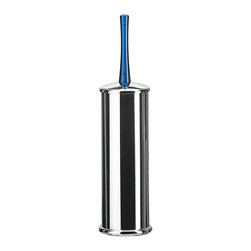 WS Bath Collections - Koko Blue Free Standing Toilet Brush Holder - Koko 5050 by Modo Bath 3.6 Dia. x 14.6 Toilet Brush Holder, Galvanized Chromed Abs, Transparent Polycarbonate, Inside Container in Polypropylene, Free Standing, Made of Galvanized Chromed Abs, Transparent Polycarbonate, Made in Italy
