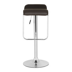 "Safavieh - Taronda Barstool - Brown - The sleek, barely-there lines of the Taronda Barstool add instant posh to any pad. Its brown PVC and chrome construction make it durable, Euro-chic and ready to entertain. Taronda��_s swivel seat adjusts from 23.8"" to 32.3"" for maximum comfort at counter or bar."