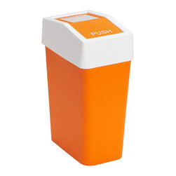 Brite Swing Lid Can, Orange - A bright orange trash can is a fun way to dress up an otherwise-ignored item.