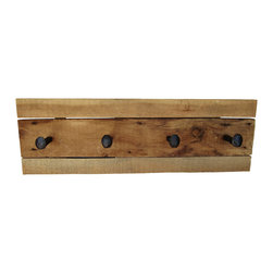 "East Coast Rustic - Reclaimed Wood Coat Rack with Rail Road Spikes Barn Wood - This reclaimed barn wood coat rack shelf is approximately 32"" long x 11"" high. All dimensions are approximate."