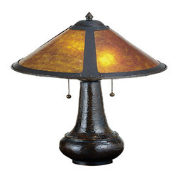 "Meyda Tiffany - 21""H Van Erp Amber Mica Table Lamp - In the tradition of American master craftsman Dirk Van Erp, this appealing hand finished Mahogany Bronze frame glows with the warmth of the natural Amber mica panels within. The shade is supported by a textured onion shaped table lamp base in matching Mahogany Bronze finish."