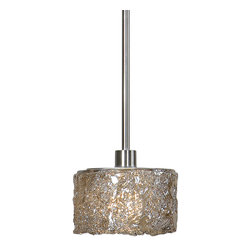 Uttermost - Uttermost 21926 Terumi 1 Light Sugar Spun Glass Mini Pendant - Lightly Stained Sugar Spun Glass Paired with Satin Nickel Details