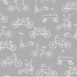 Pop & Lolli - On the Go Wallpaper, Grey & White - Removable, Re-usable, FABRIC, Eco-Friendly, Non-Toxic WALLPAPER. No professional installation needed. No Mess. No Glue.
