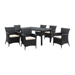 Modway - Deco 7 Piece Dining Set in Espresso White - Highly eclectic and visually assertive, Deco is a set built on bold lines and form. Symbolic of luxury, glamour and exuberance, the Art Deco period of the 20s and 30s embraced modern advances while crafting shapes in ornately transformative ways. True to the movement that bears its name, Deco is a set brimming with the urban, technological edginess of its predecessor. A refreshing piece for the progressive minded, Deco is comprised of UV resistant rattan, a powder-coated aluminum frame and all-weather cushions. The set is perfect for cafes, restaurants, patios, pool areas, hotels, resorts and other outdoor spaces.