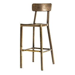Jacob Stackable Aluminum Bar Stool, Aged Metal - With a great patina, these elegant and rustic bar stools would be beautiful in clean, white decor.